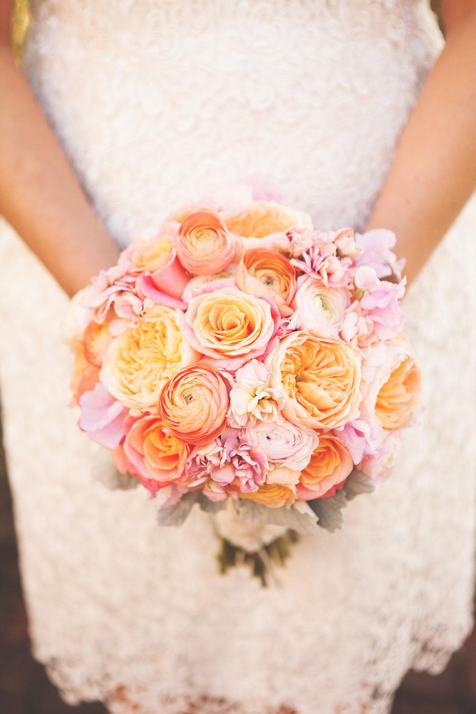 hand tied peach garden roses minneapolis nicollet island inn bridal bouquet hand tied bouquet round bouquet peach garden roses ranunculus - Peach Garden Rose