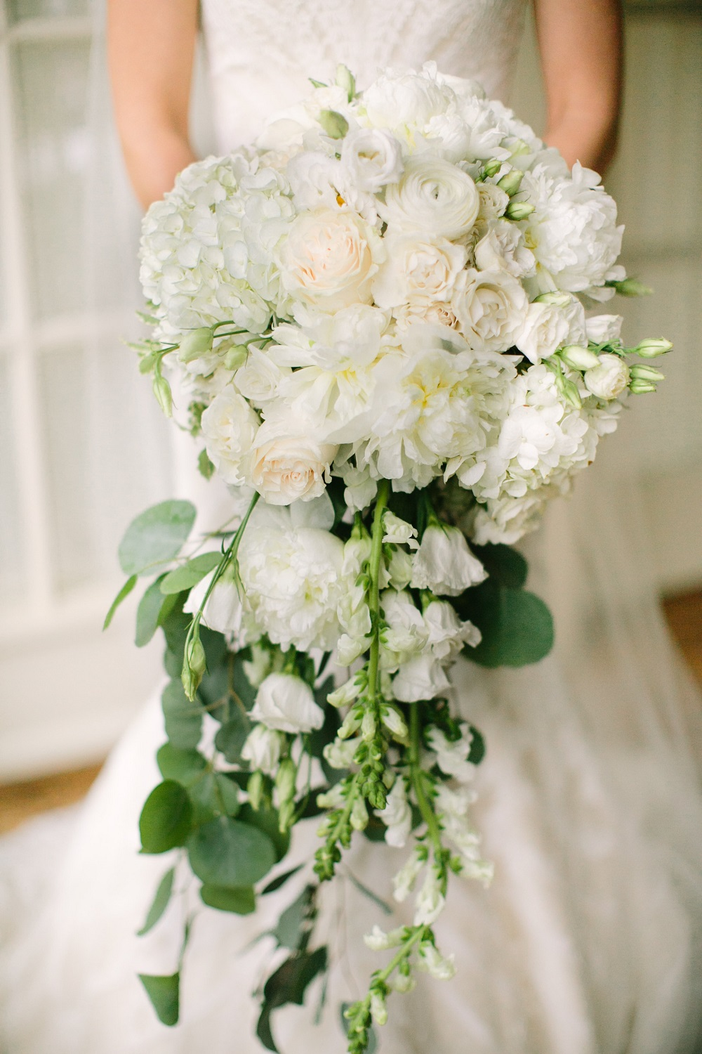 Wedding Bouquet White Flowers Cascading Bridal Bouquet White