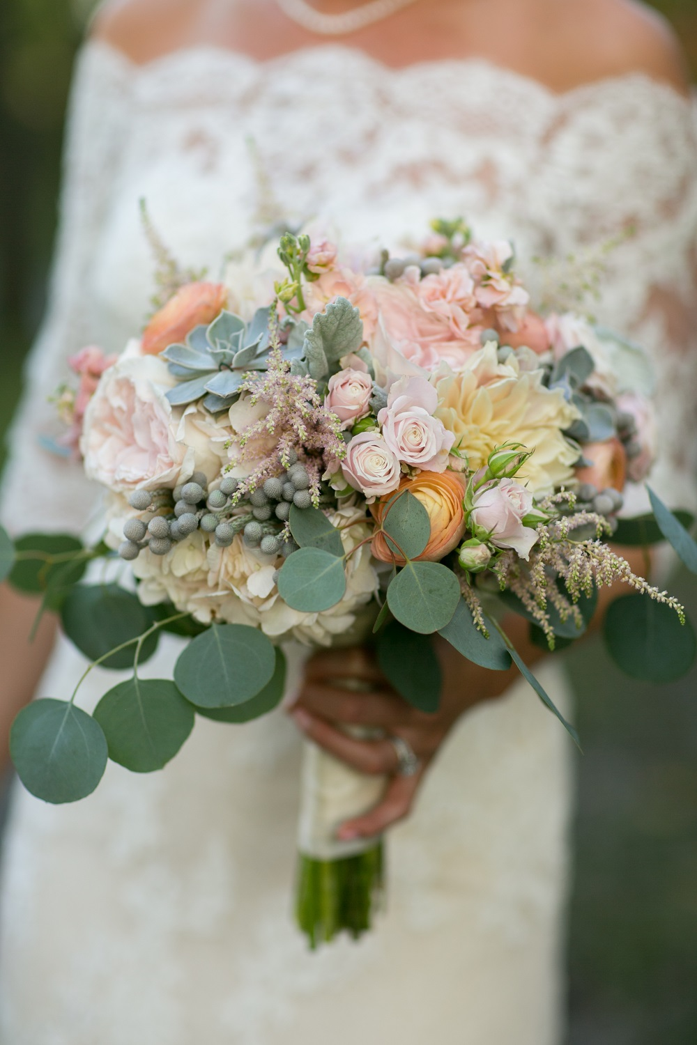 Minneapolis Rose Wedding Florist Succulent Bouquet Dahlia Eucalyptus Blush Flower Shop Bride Bridal Pink Rose Astilbe English Rose Dusty Miller Garden Rose White Dahlia Brunia Succulent Hand Tied Bouquet Plate Dahlia English