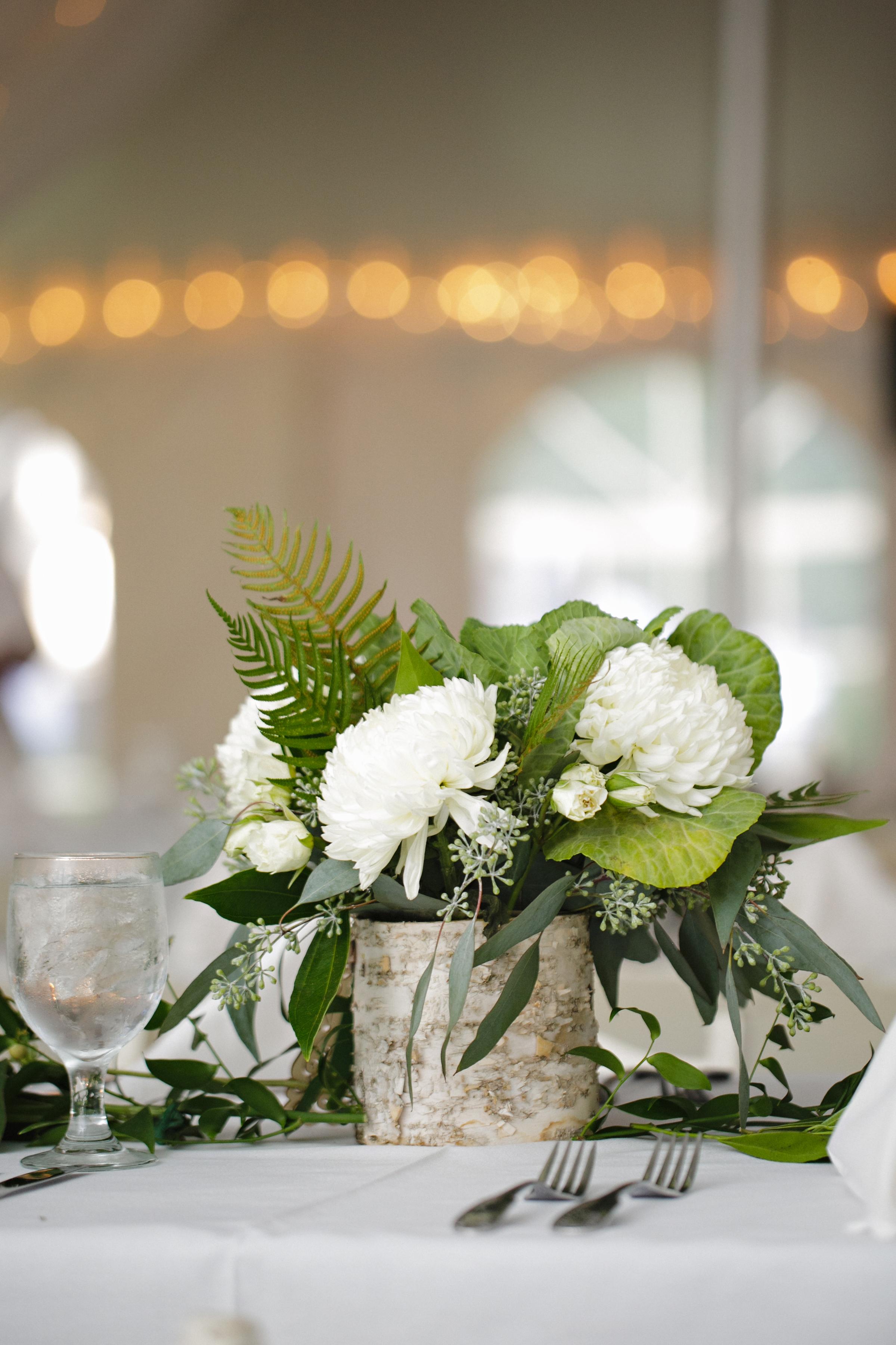 White birch wedding centerpieces fern