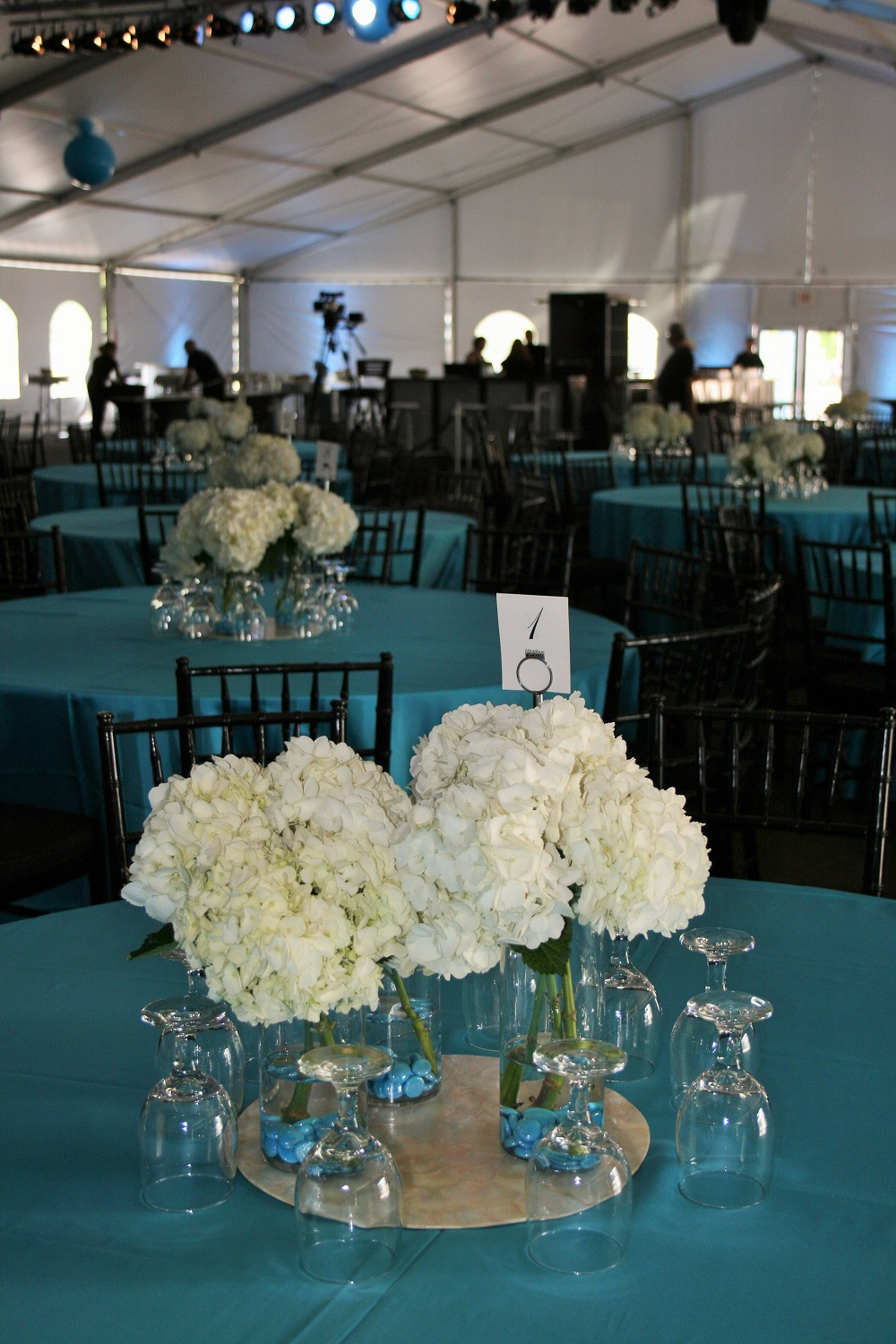 White Flowers Hydrangea Turquoise Wedding Centerpieces Minneapolis Buhler