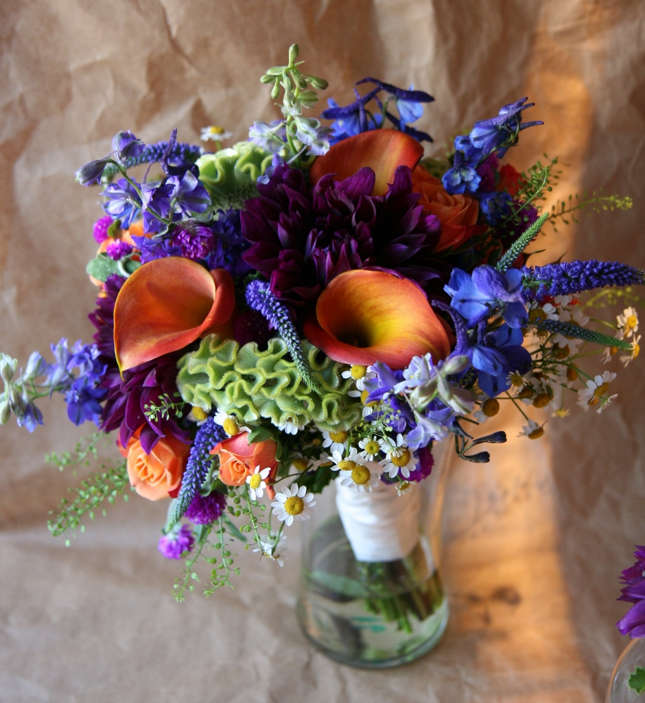 Purple Flowers, Wedding Bouquet, Delphinium Flowers, Calla Lily ...