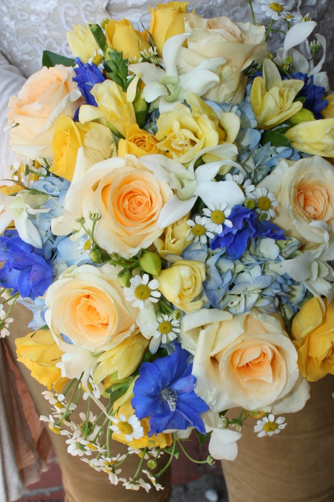 Blue Wedding Flowers Rose Wedding Bouquet Delphinium Wedding