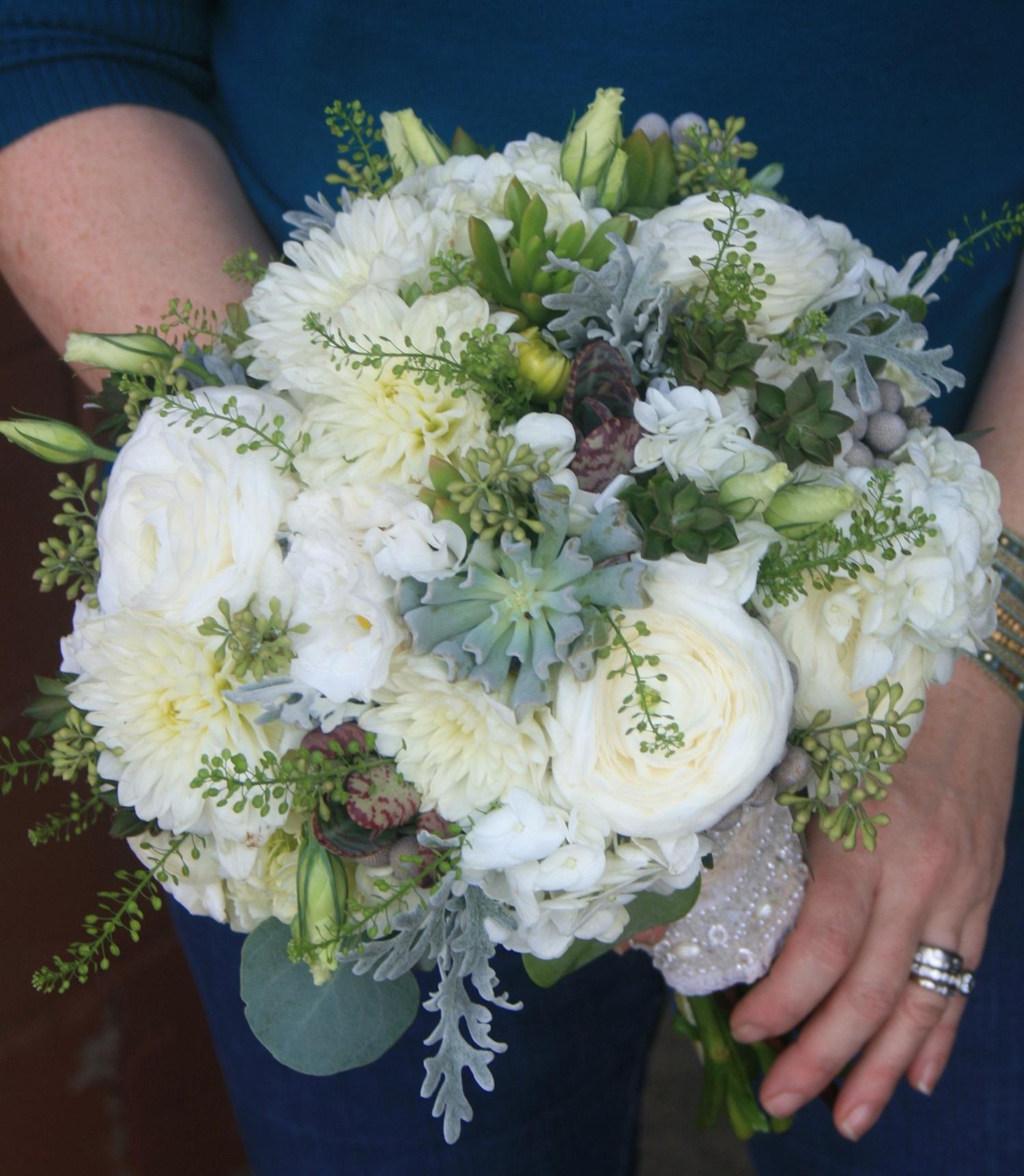 Wedding Bouquet White Flowers Succulent Bouquet Ranunculus