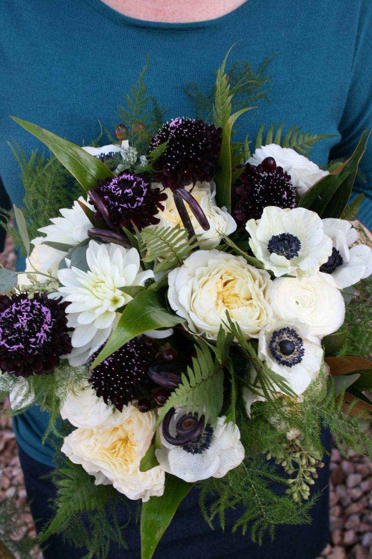 Wedding Bouquet White Flowers Burgundy Flowers Dahlia Bouquet