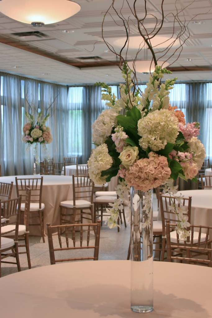Tall centerpieces for weddings pink hydrangea for Tall wedding centerpieces with branches
