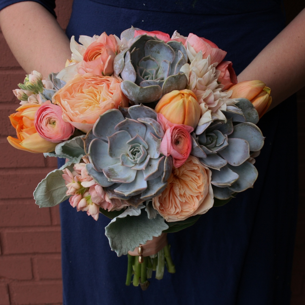 Peach Garden Rose Bouquet gray and peach wedding, peach garden roses, hand tied, minneapolis