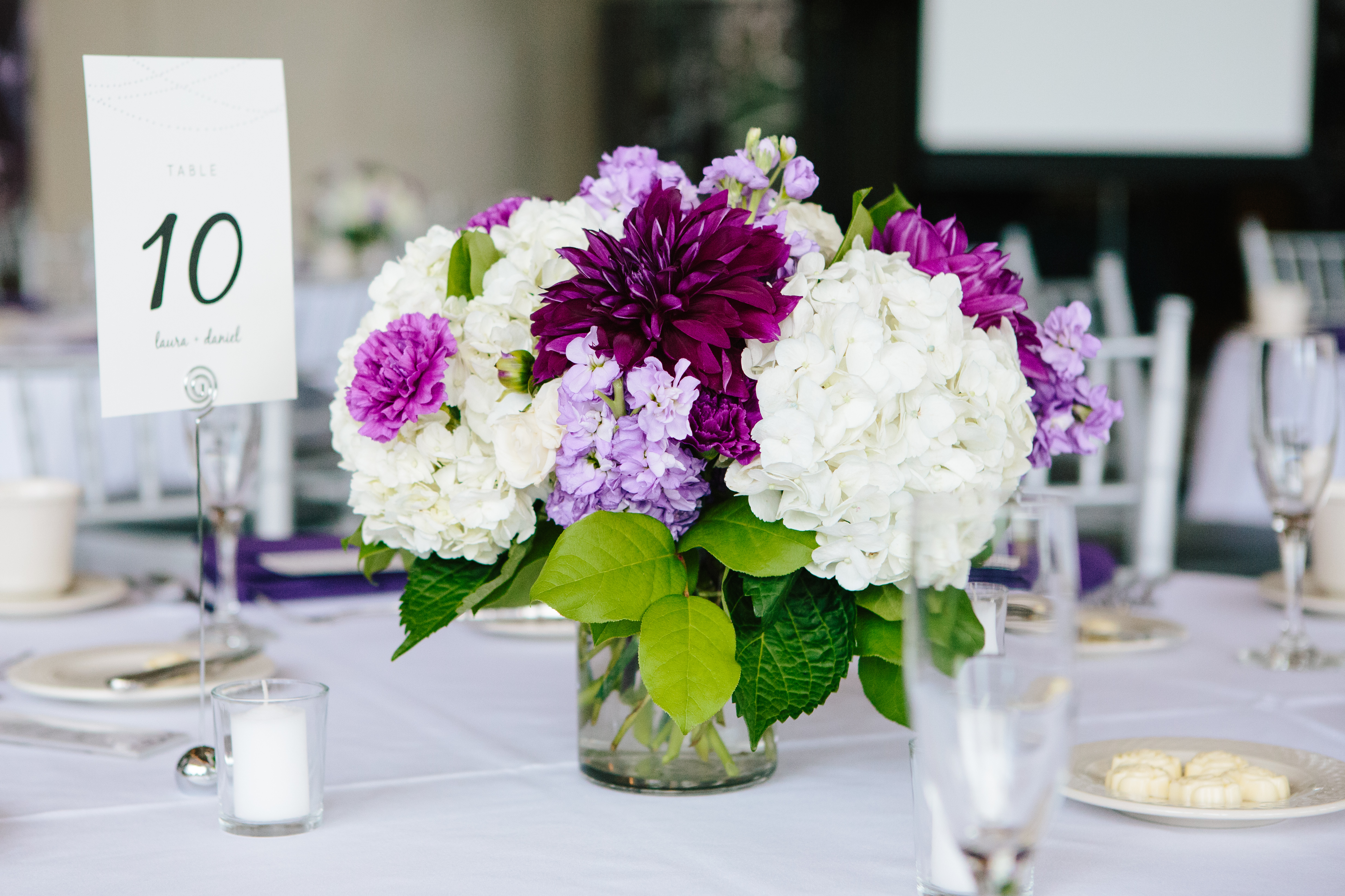 Purple flowers low centerpieces dahlia