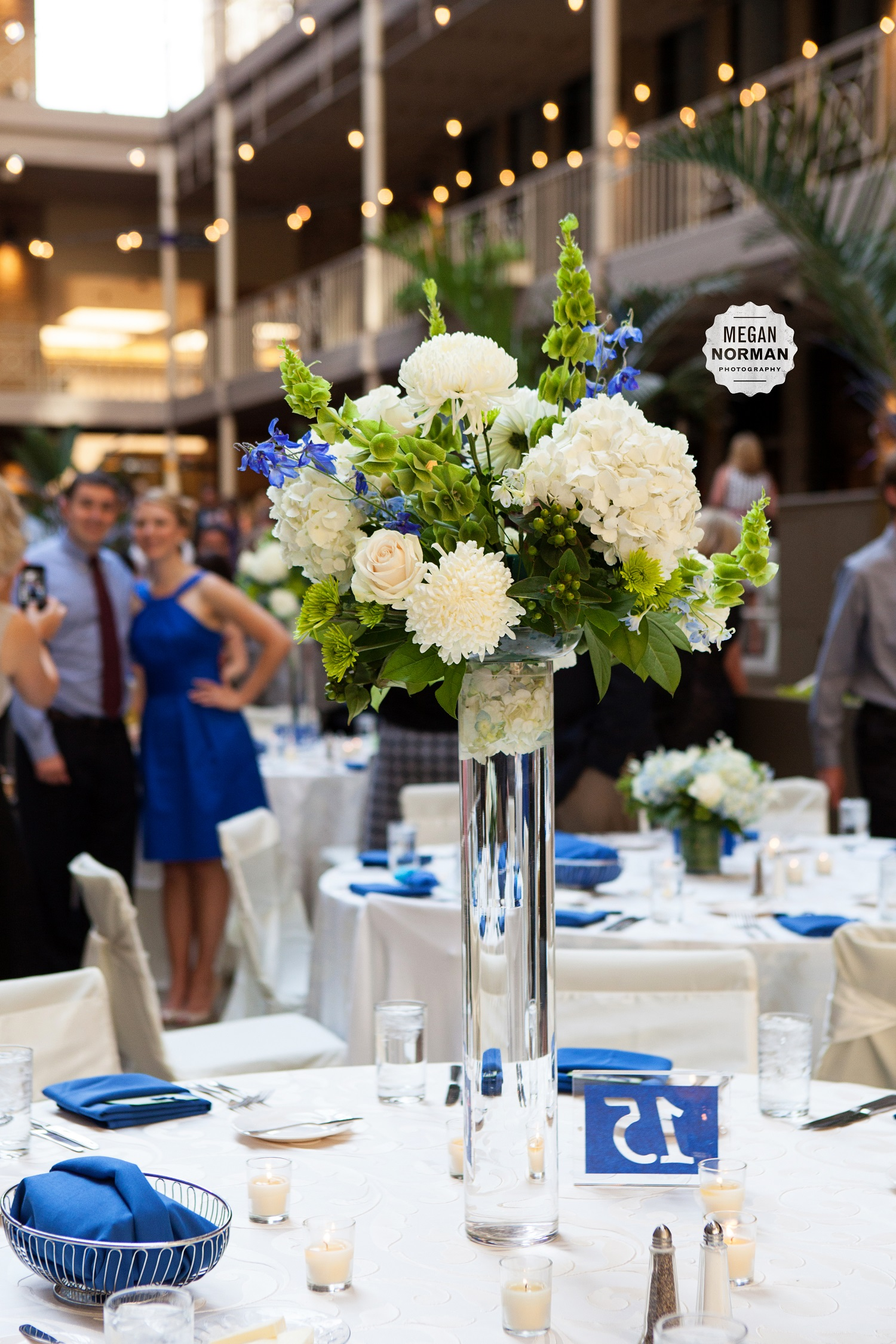 Blue and green centerpieces for weddings white