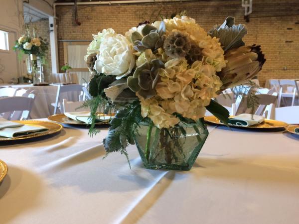 Unique Bouquets Succulent Wedding Centerpiece Cream Flower White Protea Minneapolis 514 Studios Twin Cities Muted Colors