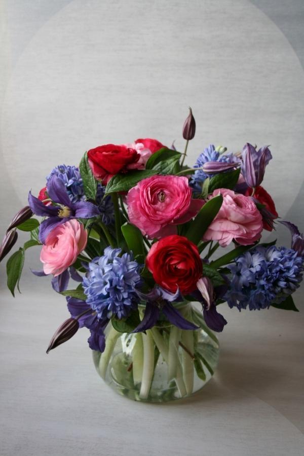 Purple Flowers Hyacinth Flower Arrangements Low Centerpiece Minneapolis Arrangement